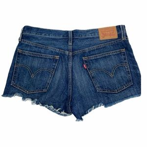 Levi's 501 button fly blue cutoff shorts. Size 28